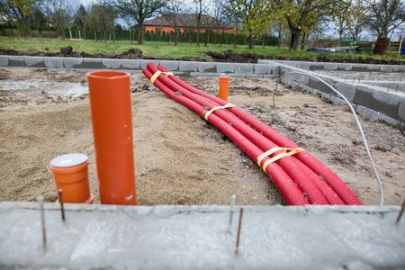 Foundations of the house, unfinished bungalow, rough construction, building a new house