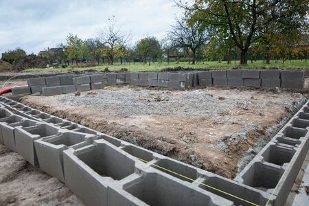 Foundations of the house, unfinished bungalow, rough construction Zdjęcie Seryjne