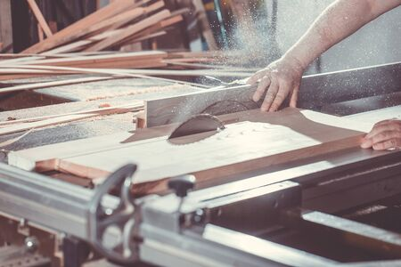 Joinery and wood work concept, professional joiner, carpenter making, sawing furniture, handcraft