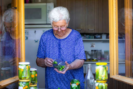 Senior woman or grandmother homemade canning the fresh, bio cucumbers to a jars with onion, carrot and dill, food concept