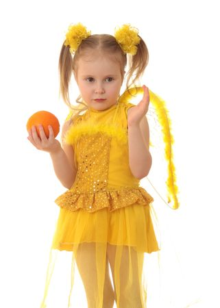 Girl angel in yellow on a white background. Stock Photo - 6509815