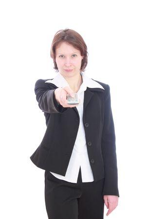 profesar: Una mujer con un control remoto en sus manos.
