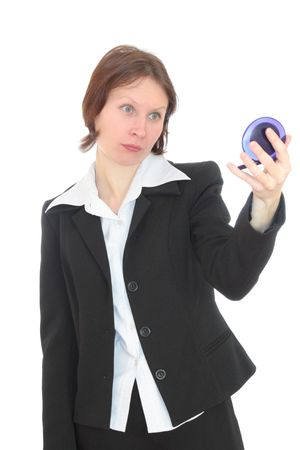appraising: Woman appraising glance looks in the mirror. Stock Photo