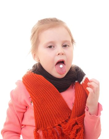 sick girl: Sick girl in a scarf on a white background. Stock Photo