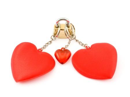 Three hearts on the lock. Stock Photo - 8045029