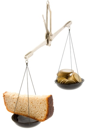 Black bread and money. Stock Photo