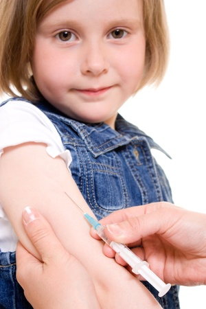 Child vaccinations on a white background. photo