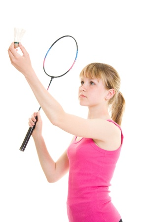 Girl with a racket on a white background.