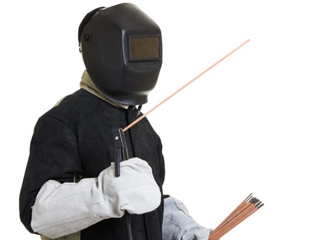 electrode: Welder on a white background. Stock Photo