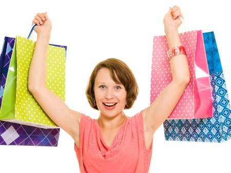 shoppingbags: Girl with shopping on white background.