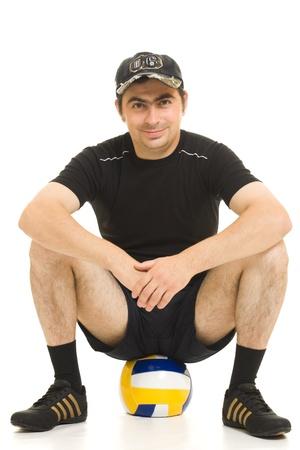 cuclillas: Voleibol hombres con el bal�n.