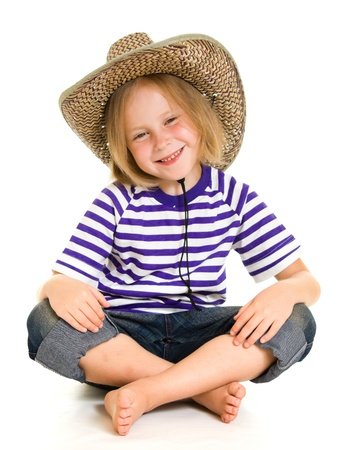 barefoot cowboy: Girl cowboy on a white background. Stock Photo