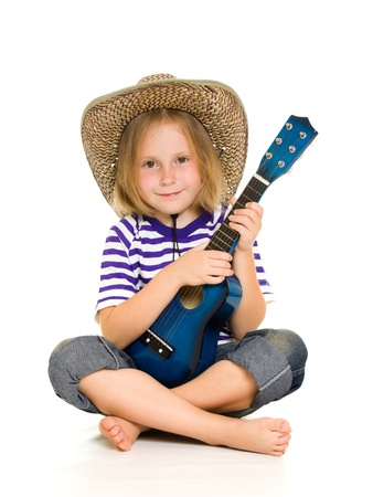 Girl cowboy on a white background. photo