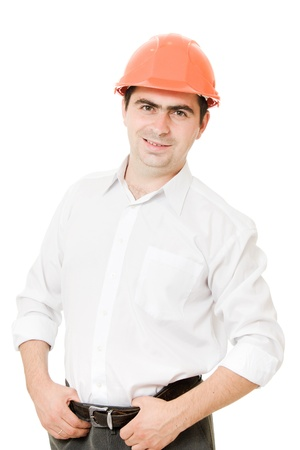 A successful businessman in the helmet. photo