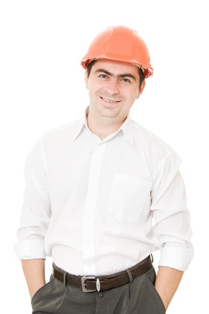 A successful businessman in the helmet. photo