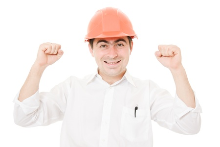 A successful businessman in his helmet on a white background. photo