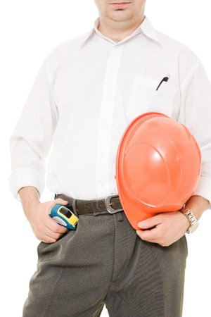 Businessman with his helmet in his hand. photo