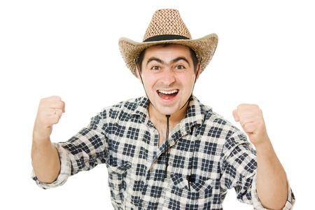 impassive: Cowboy compresses his hands into fists.