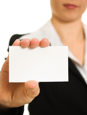 Businesswoman with visit card in his hand. photo