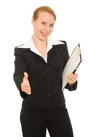 Businesswoman greeting on white background. photo
