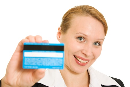 accumulation: Businesswoman with a debit card on a white background. Stock Photo
