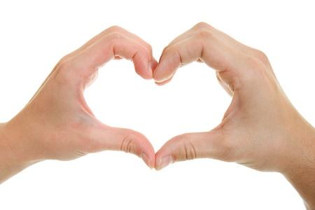 Handen, mannen en vrouwen met hart-vormige.