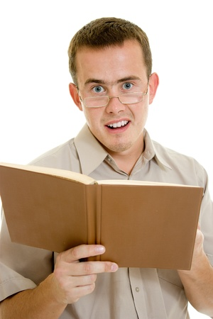 The man in glasses with a book. Stock Photo - 11182366