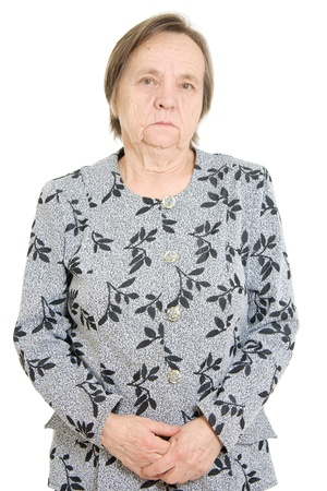 Portrait of an old woman on a white background. photo