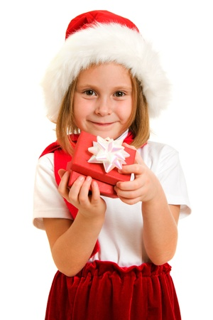 merriment: Happy Christmas child with a box on a white background. Stock Photo