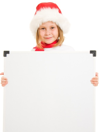 Happy Christmas child with the board on a white background. Stock Photo - 11181925