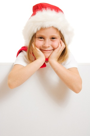 Happy Christmas child with the board on a white background. Stock Photo - 11181896