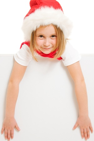 Happy Christmas child with the board on a white background. Stock Photo - 11181886