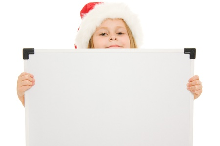 Happy Christmas child with the board on a white background. Stock Photo - 11181922
