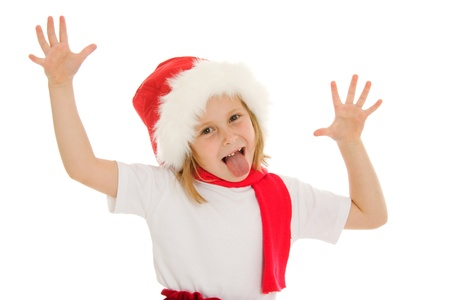 Happy Christmas child poses a face on a white background. photo