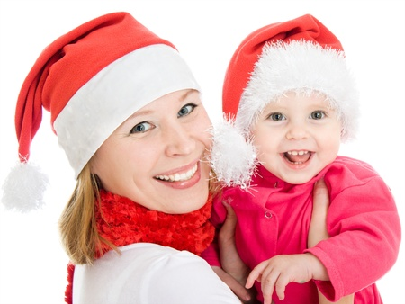 Happy Christmas mother and daughter on a white background. Stock Photo