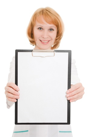 Doctor with clipboard on a white background. photo