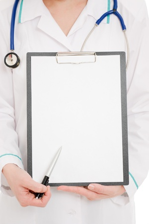 consultation woman: Doctor with clipboard on a white background.
