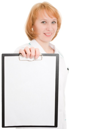 researches: Doctor with clipboard on a white background.