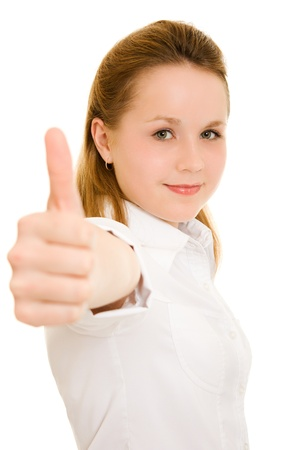Young businesswoman on a white background. photo