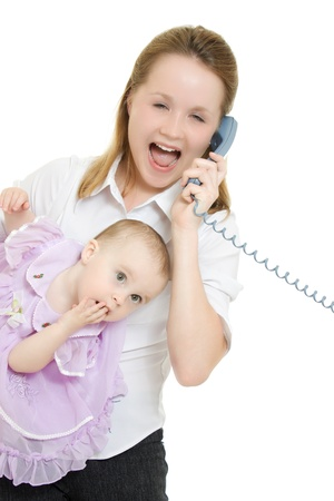 Businesswoman with a baby in her arms on the phone. Stock Photo - 11325373