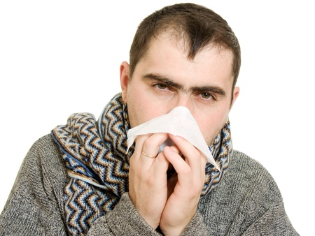 runny: A patient man with a runny nose.