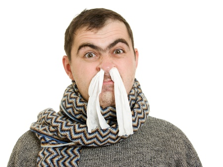 A patient man with a runny nose.