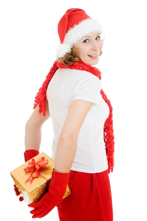 Woman hides behind Christmas presents on a white background. photo