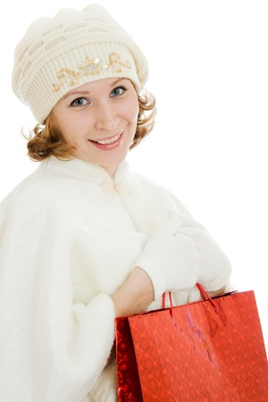 Woman with Christmas presents on a white background. photo