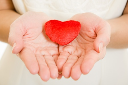 A girl holds a heart in the palms on a white background.