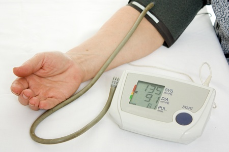 Hand an elderly woman with a sphygmomanometer on a white background. photo