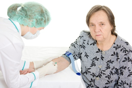 inoculate: The doctor makes vaccination an old woman.