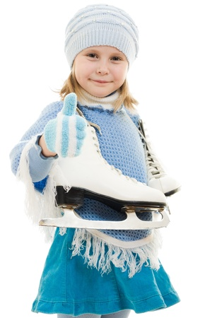 A girl with skates on white background. Stock Photo