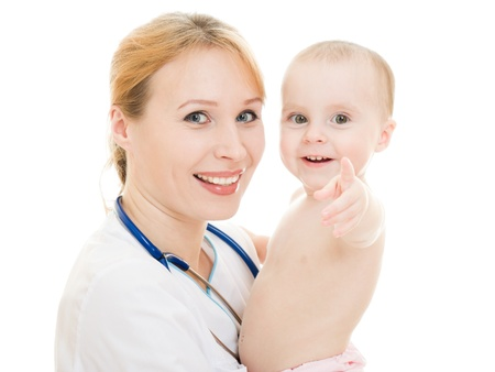 Doctor holding a baby in her arms on a white background.
