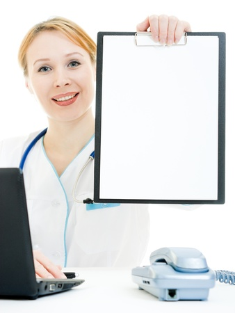 A woman doctor consultant with a white board on a white background. photo